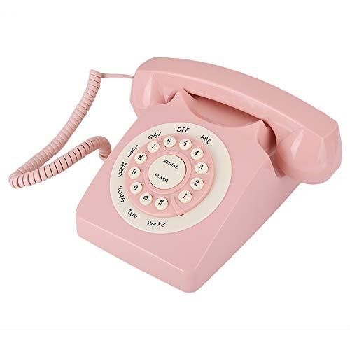 Hopcd Teléfono Vintage, teléfono Antiguo Retro de Escritorio, Sonido Claro/botón Grande/Calidad de Sonido de Alta definición para el hogar/Oficina, Rosa