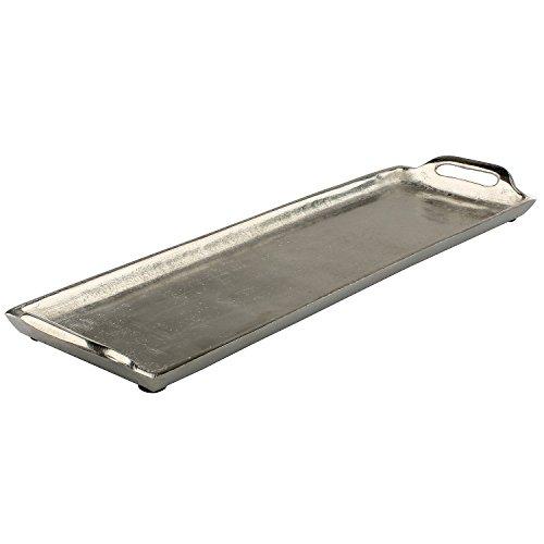 MACOSA WV36843 Deko-Tablett mit Griffen Silber rechteckig Aluminium Tisch-Dekoration Kerzenteller Servierplatte Obsttablett Wohn-Accessoire
