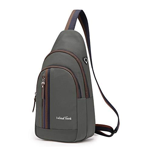 Wind Took Schultertasche Brusttasche Crossover Taschen Messenger Bag Sling Rucksack Umhängetasche Sporttasche Freizeit Daypack für Herren Damen, Grau