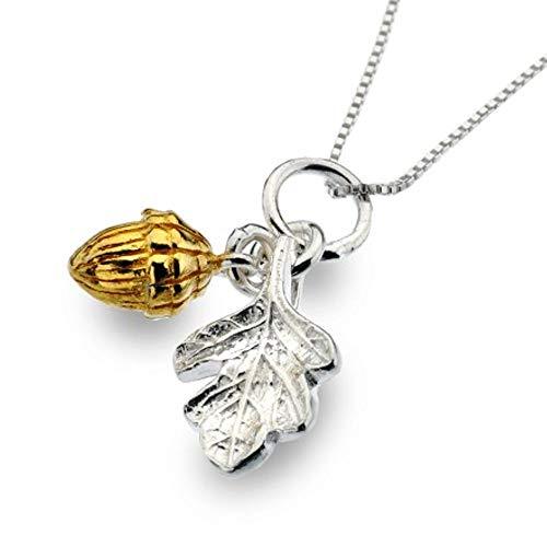 Silber und vergoldet Eichel Anhänger Eichenblatt-Design