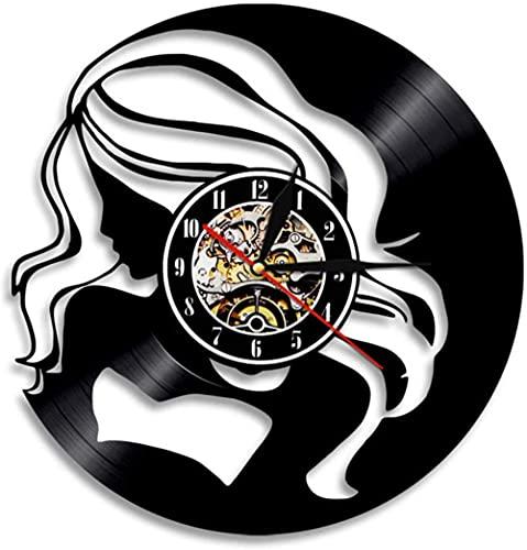 KDBWYC Reloj de Pared de Vinilo para Mujer Hermosa de 1 Pieza, Regalo artístico Hecho a Mano, Reloj de grabación de gramófono Decorativo, Reloj Creativo