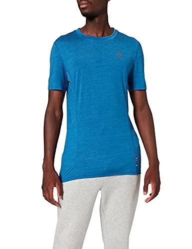 Odlo BL Top Crew Neck s/s Natural + Light Haut Homme Directoire Blue Melange FR : L (Taille Fabricant : L)