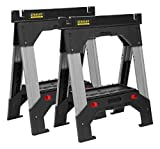STANLEY FATMAX Telescopic Work Bench Saw Horse Twin Pack, Heavy Duty Multi-use Metal Adjustable Height, 1-92-980