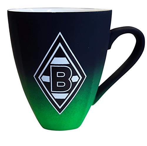 Borussia Mönchengladbach Tasse Rubber schwarz/grün Kaffeetasse, Becher, Pott, Mug BMG - Plus Lesezeichen I Love Mönchengladbach