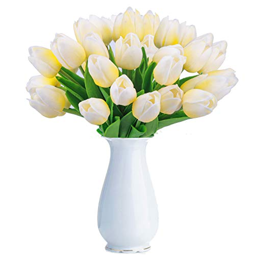 BOMAROLAN Artificial Tulip Fake Holland Mini Tulip Real Touch Flowers 24 Pcs for Wedding Decor DIY Home Party (Light Yellow)