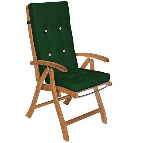 Detex® Stuhlauflagen Vanamo Befestigungsschlaufen 6er Set Auflage Hochlehner Sitzauflage Stuhlkissen Kissen Grün
