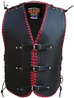 Bikers Gear Australia Heavy Duty Buckle Club Vest 3MM Thick Leather NZ with Red Braiding