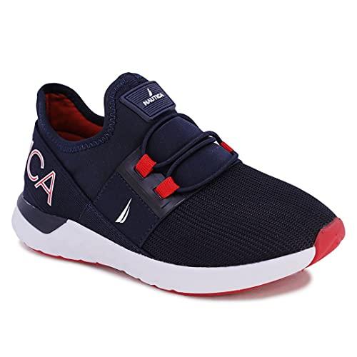 Nautica Kids Toddler Sneaker Athletic Slip-On Bungee Running Shoes Boy-Girl Toddler Little Kid-Neave Emboss-Navy Red Pop-10