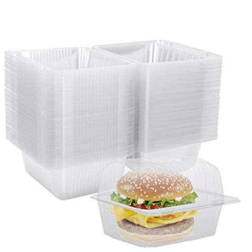 Clear Plastic Hinged Food Container 100 PCS, 5.5' Length x 4.8' Width x 3.7' Depth, Disposable Clamshell Food Containers for Salads, Hamburger, Sandwiches
