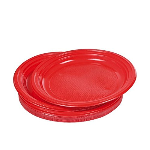 Viphome 6ASJ045RV Lot de 20 Assiettes Rouge 22 cm