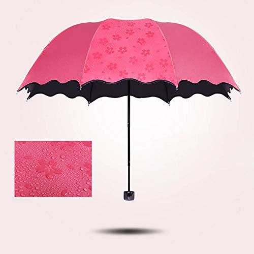 Symboat Paraguas plegable Bloom Fleur, parasol cortavientos para deportes al aire libre, parasol con protección UV