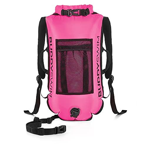 BUDDYSWIM Mochila Boya de Seguridad para Natación en Aguas Abiertas - DryBag con Compartimento Interior Estanco y Espaldera Desmontable - Ligera y Resistente Acabado de Nylon - Color Rosa