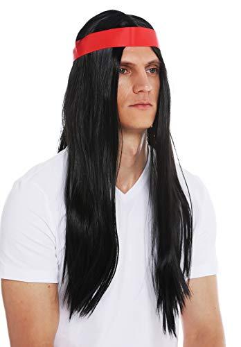 WIG ME UP - 7093-P103 Perücke Halloween Karneval Herren Damen 70s Hippie Indianer schwarz lang glatt Mittelscheitel Stirnband
