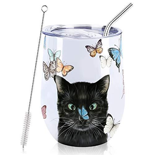 NymphFable 12oz Thermobecher Kaffeebecher to Go Personalisierte Katzen Edelstahl Weinglas Mit Deckel Beste Freundin