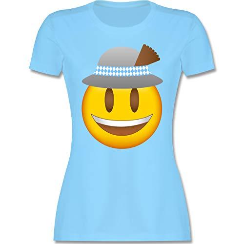 Oktoberfest Damen - Oktoberfest Emoticon mit Hut - M - Hellblau - Damen Hut weiß - L191 - Tailliertes Tshirt für Damen und Frauen T-Shirt