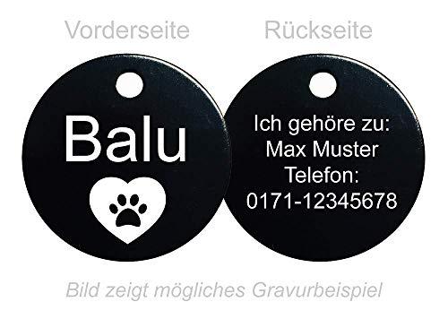SNEG Hundemarke Rund mit beidseitiger Gravur (schwarz)