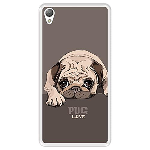Hapdey Funda Transparente para [ Sony Xperia Z3 ] diseño [ Pug Puppy Reposo, Pug Love ] Carcasa Silicona Flexible TPU