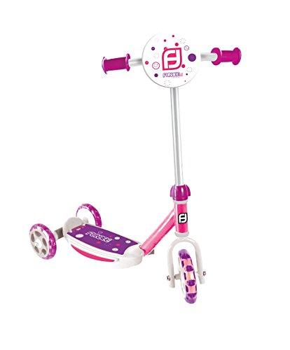 Funbee - Patinete Infantil (3 Ruedas, con Panel Frontal y Manillar Ajustable), Color Rosa y Amarillo