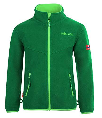 Trollkids Kinder Oppdal XT Fleece Jacke, Dunkelgrün/Hellgrün, Größe 104