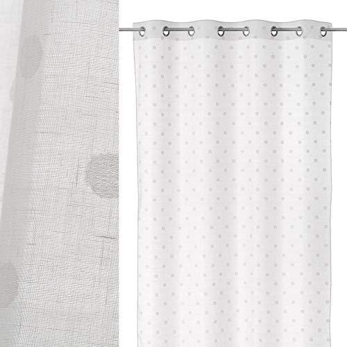 Visillo de Lunares con Cinta de ollados Blanco contemporáneo de poliéster de 260x140 cm - LOLAhome
