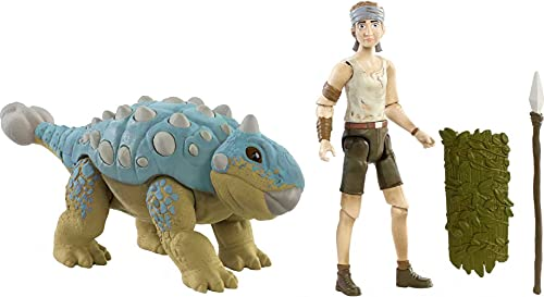 Jurassic World Human & Dino Pack Ben & Ankylosaurus Bumpy Action Figures, Spear Accessory, Camp Cretaceous Movable Joints & Authentic Sculpt, Kids Gift Ages 4 Year & Older