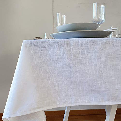 Farnberg Tischdecke Leinen Weiß 300 cm| Leinentischdecke, Tischtuch | Esstisch Deko | Mit Liebe in Deutschland genäht | modern & pflegeleicht | 135x300 cm (LxB) | Uni Weiß