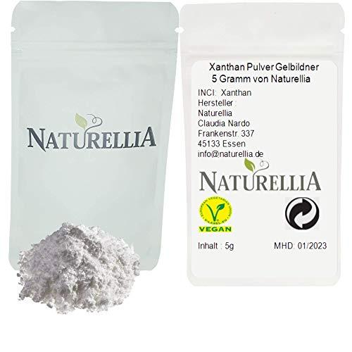Naturellia Xanthan Gel en polvo goma xantana sin gluten 5 gramos para espesar alimentos y cosméticos - estabilizador, agente de amarillamiento, Xanthan Gomme