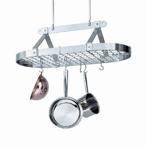 Enclume 3-Foot Oval with Grid Premier Ceiling Rack, Chrome Copper Plated Oval Pot Rack