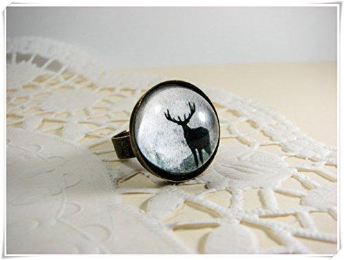 Elf House Anillo de reno, anillo de Navidad, anillo grande, anillo de...