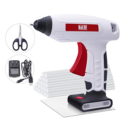 """KeLDE Cordless Hot Glue Gun Kit, 30 Seconds Heating Time 3.7V Li-ion Battery Rechargeable Glue Gun, with USB Cable and Plug, Fine Tip Nozzle, Includes 20pcs 0.6x0.27"""" Hot Glue Sticks"""