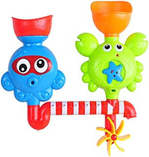 Auch Bath Toys Bathtub Toys for 1 2 3 Year Old Kids Toddlers Bath Wall Toy Waterfall Fill Spin and Flow Non Toxic Birthday...