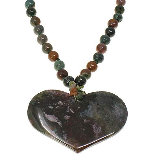 Semi Precious ágata luz naranja tono piedra Bead y gran corazón colgante Gargantilla Collar