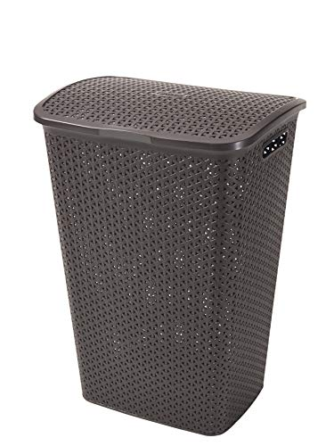 CURVER | Coffre à linge 55L - Aspect rotin - My Style, Chocolat, Laundry Hampers & Baskets, 42,8x33x60,4 cm