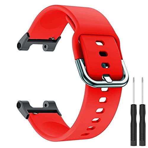 KangPlus Correa de reloj para Amazfit T-Rex/T-Rex Pro, correa de repuesto de silicona suave, transpirable, ajustable con herramienta de instalación para mujeres y hombres, color rojo