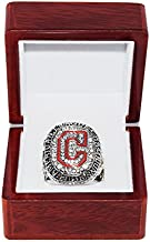 CLEVELAND INDIANS (Terry Francona) 2016 AMERICAN LEAGUE CHAMPIONS (World Series Appearance) Collectible High-Quality Replica Silver Baseball Championship Ring with Cherrywood Display Box