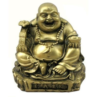 Hinky Imports Gold Laughing Happy Small Buddha Statue Figurine for Lucky Home Décor Gift