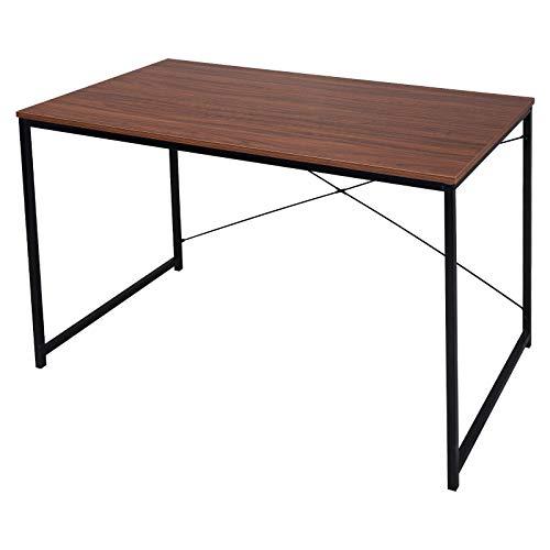 WOLTU TSB08br Schreibtisch Computertisch Büromöbel PC Tisch Bürotisch Arbeitstisch aus Holz und Stahl, ca,120x60x70 cm, Schwarz+Dunkelbraun