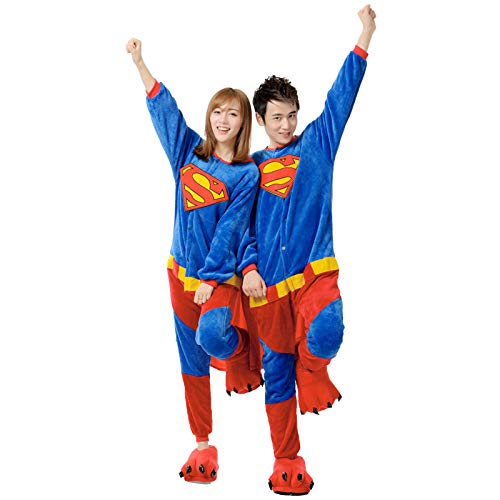 JXILY Tier Kostüm Einteiliger, Damen Schlafanzug, Einteiliger Superman-Cartoon-Pyjama Für Männer und Frauen Bequem Warm Overall mit Kapuze Home Service,Blau,M