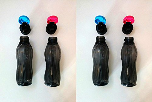 Tupperware Botellas ecológicas con tapa abatible, 310 ml, 4 unidades, color negro
