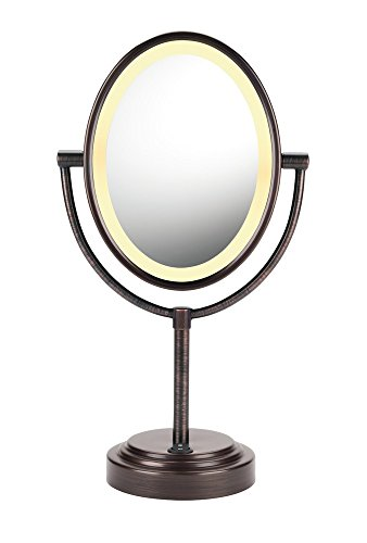 Conair Reflections Double-Sided Lighted Vanity Makeup Mirror, 1x/7x magnification, Oiled Bronze