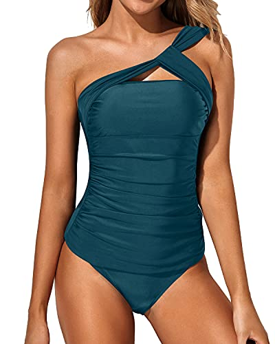 Tempt Me Green Tankini Bathing Suits for Women Ruched One Shoulder Tankini Top with Shorts Two Piece Swimsuits M