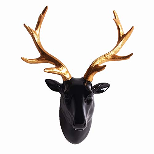 Animal Head Wall Decor, Glossy Black Faux Resin Deer Head with Gold Antlers for Wall Mount Decoration, Size 10' x 5' x 12'