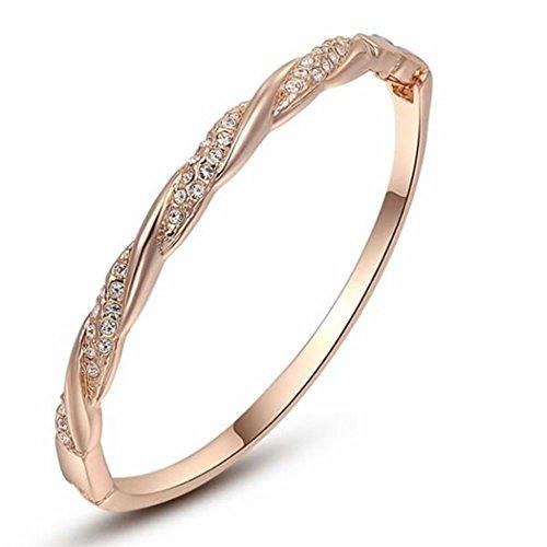 LnLyin Roségold glnzende Diamant gekreuzte Design armreif Armband Armband