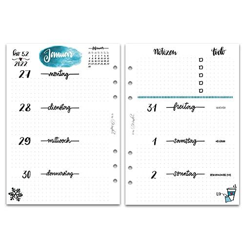 SinnWunder® Premium-Kalendereinlagen - Wochenplan mit 1 Woche auf 2 Seiten - LetteringSinn (2022 - Din A5)