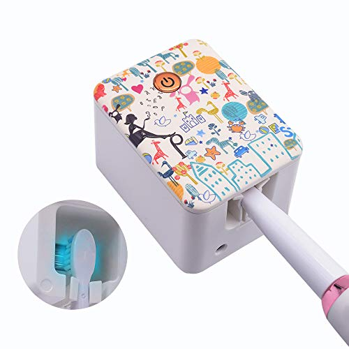 SARMOCARE Deep Toothbrush Holder with Buit-in Battery and Light, Portable Toothbrush case Wall Mount or Countertop Use for Home,Rechargeable Organizer.3D Design.