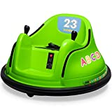Kidzone 12V Kids Toy Electric Ride On Bumper Car 360 Spin 2 Speed Battle Vehicle with Remote Control, Bluetooth Music, DIY Race# 00-99 and Alphabet Stickers, ASTM-Certified, Green