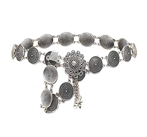 idealway Vintage Turkish Gypsy Alloy Coin Belly Body Chain Waist Chain Beach Bohemian Festival Body Coin Belt Belly Jewelry for Women (Silver 6672)
