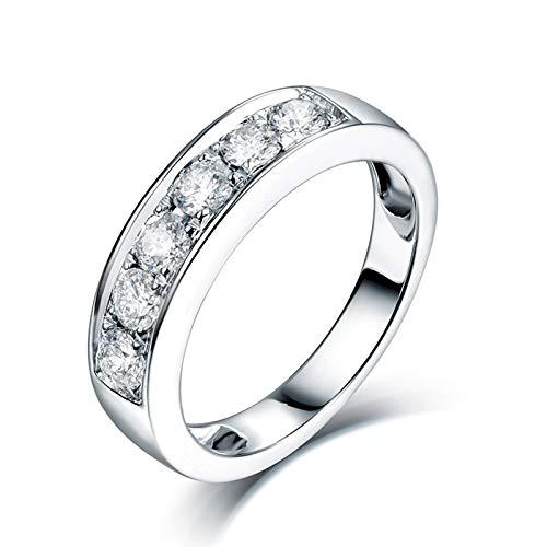 ANAZOZ Anillos Compromiso Mujer Diamante,Anillo Boda Mujer Oro Blanco 18K Plata Redondo Diamante 0.65ct Talla 27