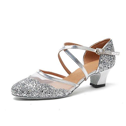 MINITOO Damen Latein Salsa Ankle Strap Silber Glitter Social Tanzschuhe Hochzeitsschuhe EU 39