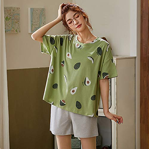 Pijama De Verano Mujer,Verde Ropa Para Dormir, Establece Para La Mujer Encantadora Patrón Aguacate Pijamas 100% Algodón Corto De Desgaste Inicio Venta De Ropa Interior Femenina Pijamas Caliente,Xxl